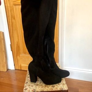 Black Suede Over the Knee Platform Boots